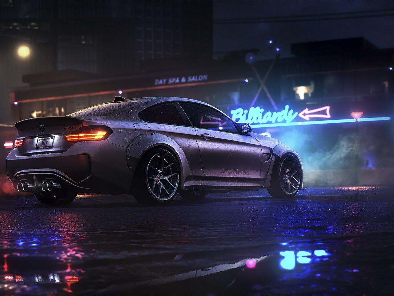 Download Wallpaper Bmw M4 Sport Car Rain Dark Night