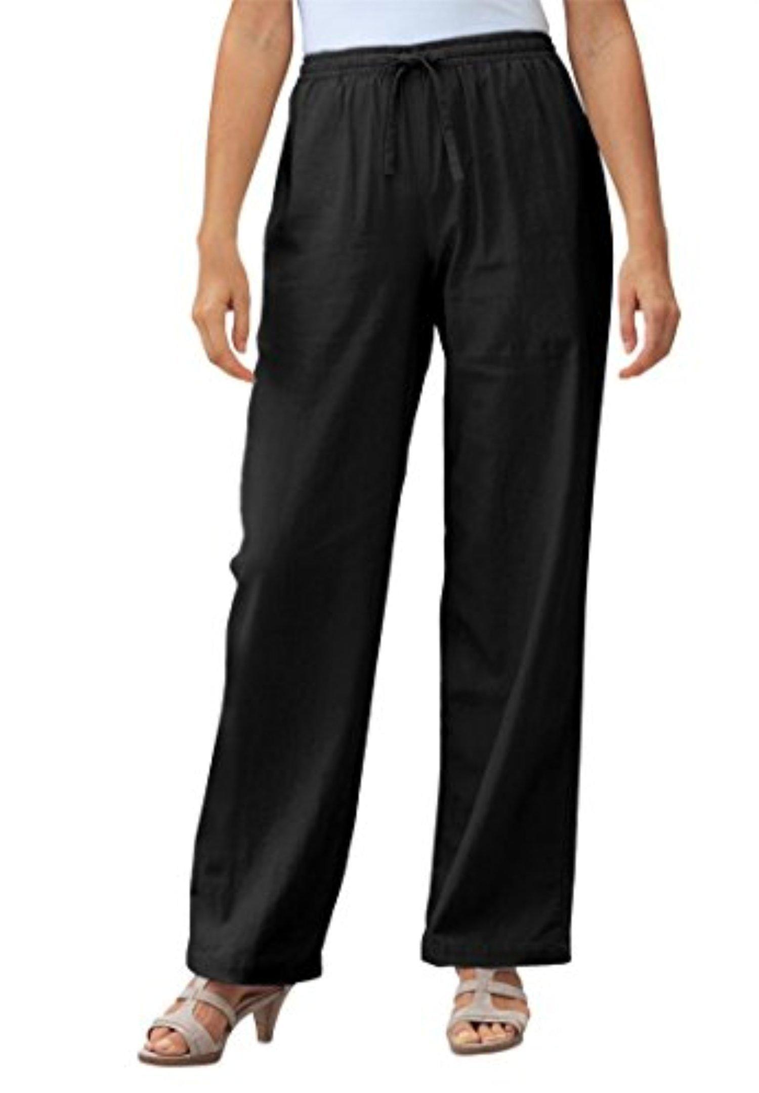 130f11de26a Women s Plus Size Pants In Cool Linen Blend Black