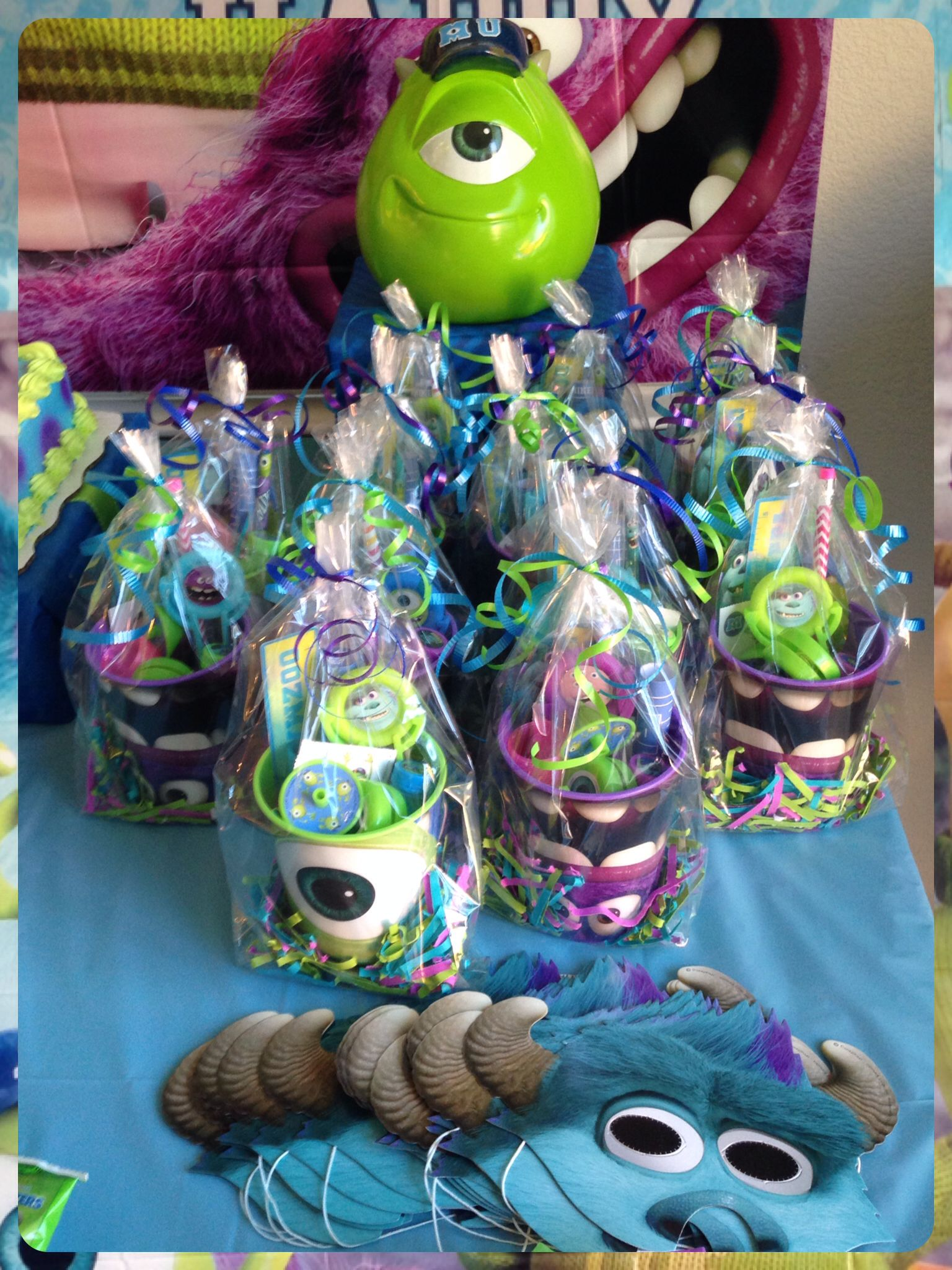 Likos party favors. Monsters Inc. Monsters University theme.