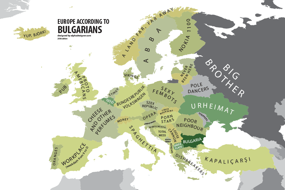 Europe according to Bulgaria  Atlas of Prejudice by Yanko Tsvetkov     Europe according to Bulgaria  Atlas of Prejudice by Yanko Tsvetkov