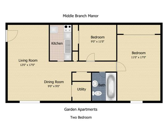 700 Square Feet Apartment floorplan: the communities at middle branch apartments & townhomes
