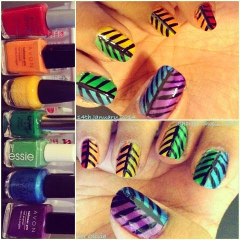 Rainbow nails WITH trees