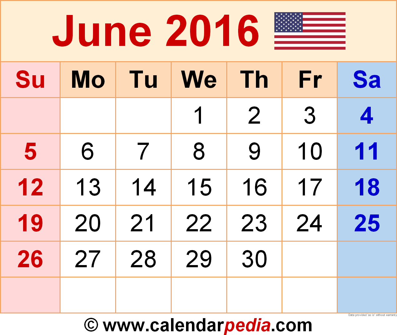 Download June  Printable Blank Calendar Template Pdf Excel