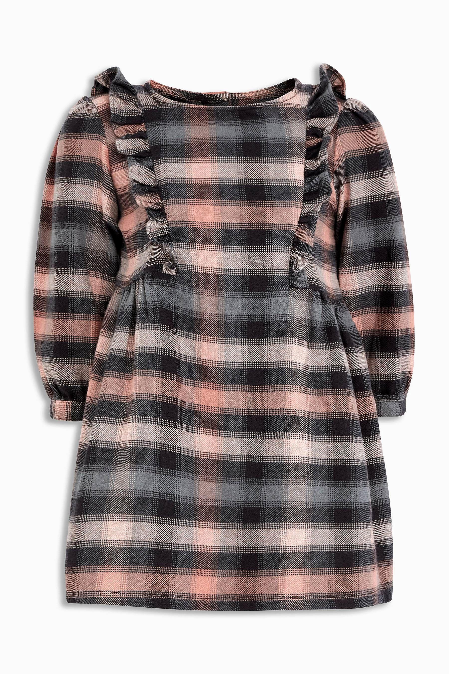 f0466c12d80 Buy Pink Grey Check Ruffle Dress (3mths-6yrs) from the Next UK online shop