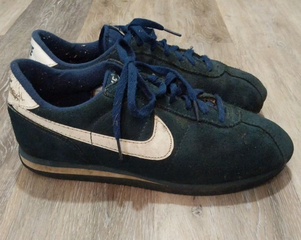 Vintage 1980s Nike Suedetennis Shoes Size10 Blue Made In Korea White Swoosh Nike Athletic Everyday Shoes Nike Blue