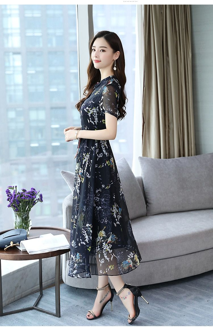 22d3b5b5b53ec Summer Vintage Chiffon Floral Dress Plus size Maxi sundress Boho ...
