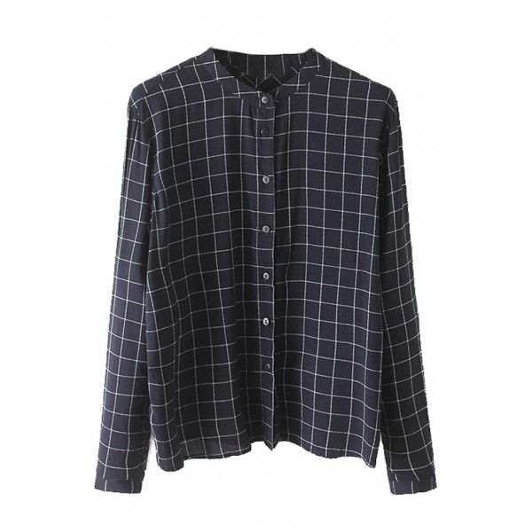 Stand Up Neck Plaid Button Down Long Sleeve Loose Shirt ($17) ❤ liked on Polyvore featuring tops, cut loose shirt, loose fitting tops, long sleeve button up shirts, button-down shirt and tartan shirt