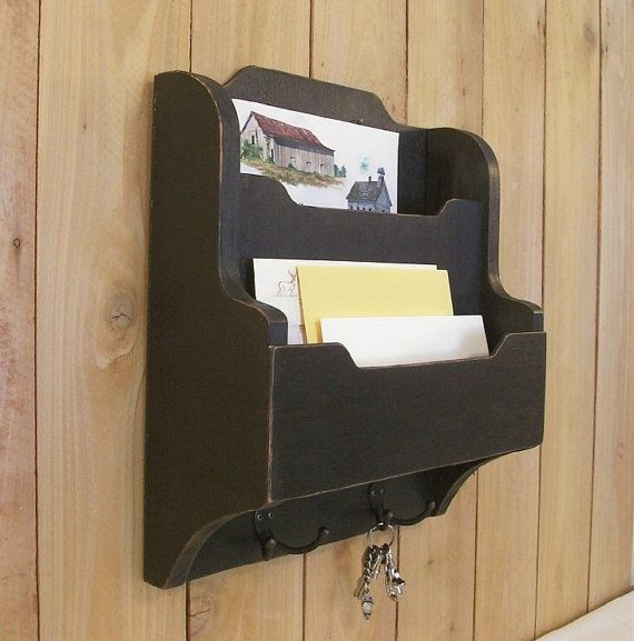 Primitive Mail And Key Organizer Cubby Shelf Wall Mount Lamp Black Color Choice