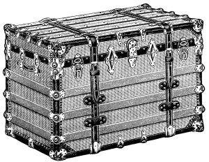 vintage trunk clipart, antique trunk illustration, battleship trunk image, black…
