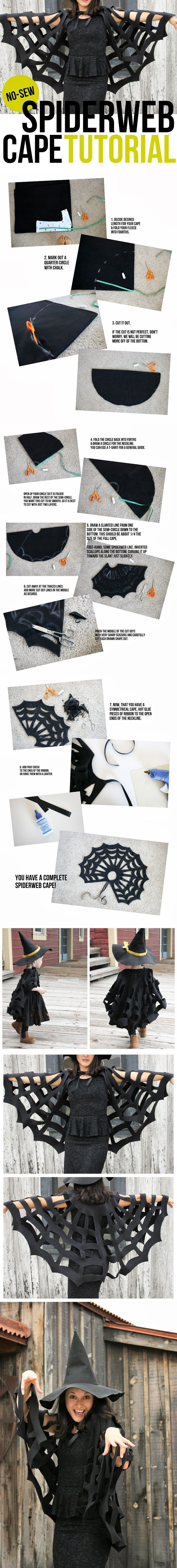 No-Sew Halloween Spiderweb Cape TUTORIAL