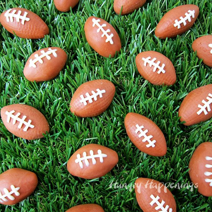 Score big points by serving these fun Chocolate Caramel Fudge Footballs at your Super Bowl party or while watching any football game. They are simple to make using 2 ingredients. See the recipe at HungryHappenings.com