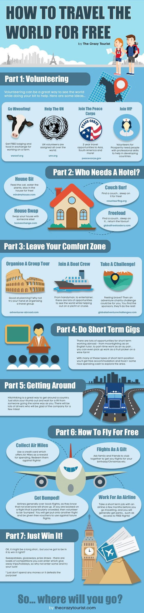 How to TRAVEL the World for FREE - this suggests ways in which you can eliminate certain costs from your travels )for example, free accommodation by house sitting or free food by Wwoofing ) . Of course, it's probably impossible to make a trip completely free, but here are some ideas to at least cut the costs down. Infographic.: