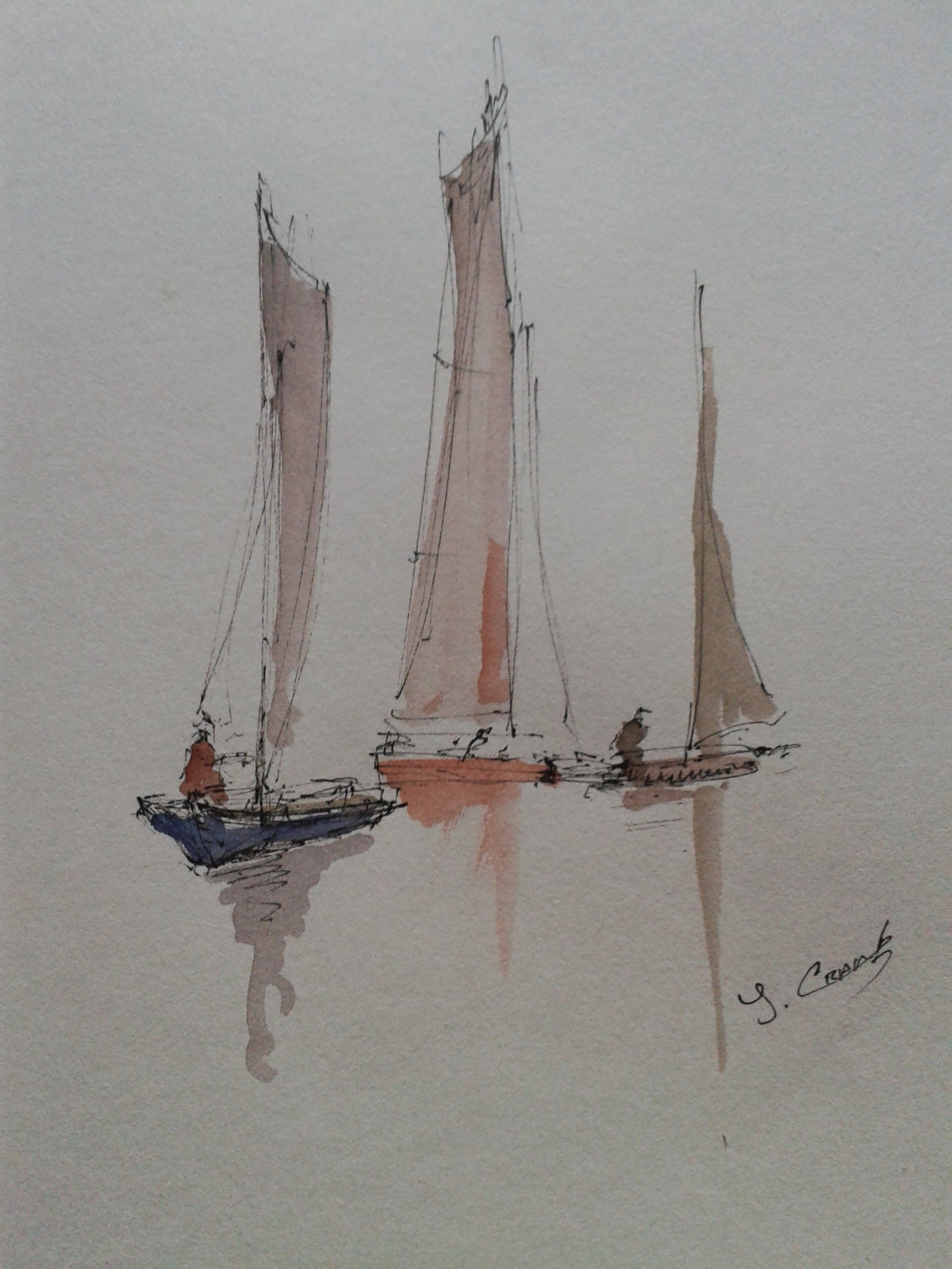 a5 pen and wash plein air painting 4 sailing boats