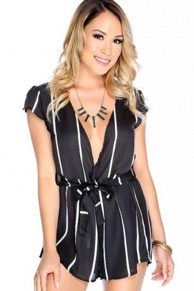 2c095b649a4 Sexy Black White Vertical Stripes Tie Romper
