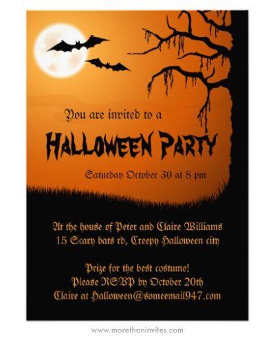 Spooky Halloween party invitation with full moon, bats and creepy ...