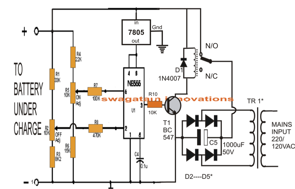 lead acid battery charger circuit using ic 555 electronic circuit