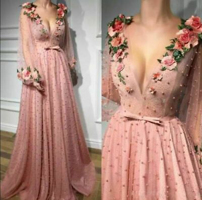Blush Pink flower Wedding Dresses Bridal Gown Long Puffy Sleeve Pearl Soft Tulle | eBay