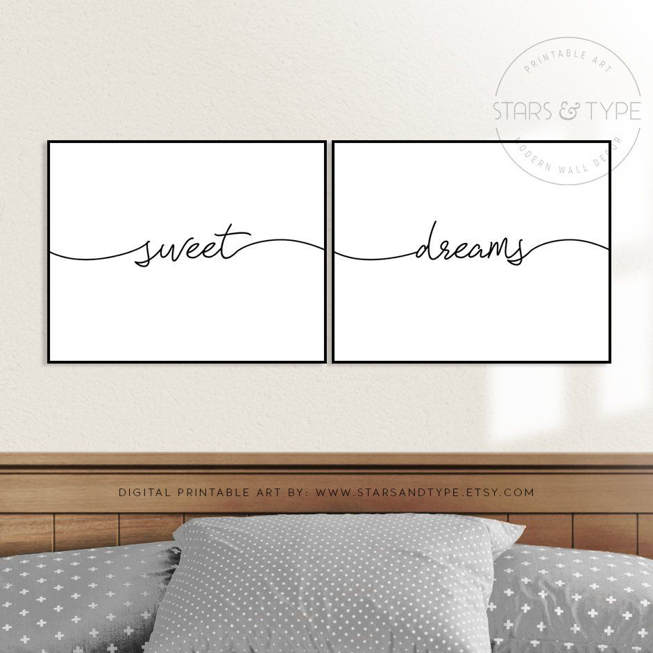 Sweet dreams printable wall art set of two goodnight quote