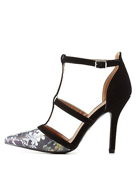 Floral Print Strap Pointed Toe Heels #floralprint #heels