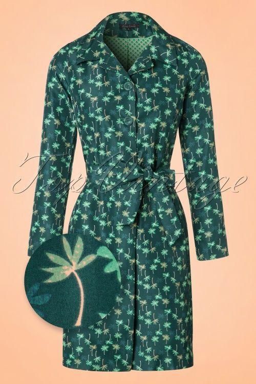 2588ddf9dce9 King Louie Loren Coat with Palm Trees print trenchcoat green groen jas  jasje jack