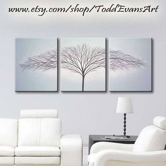 48x20 Inch, 3 piece set Large Canvas Art, Grey Baby Blue, Trees ...