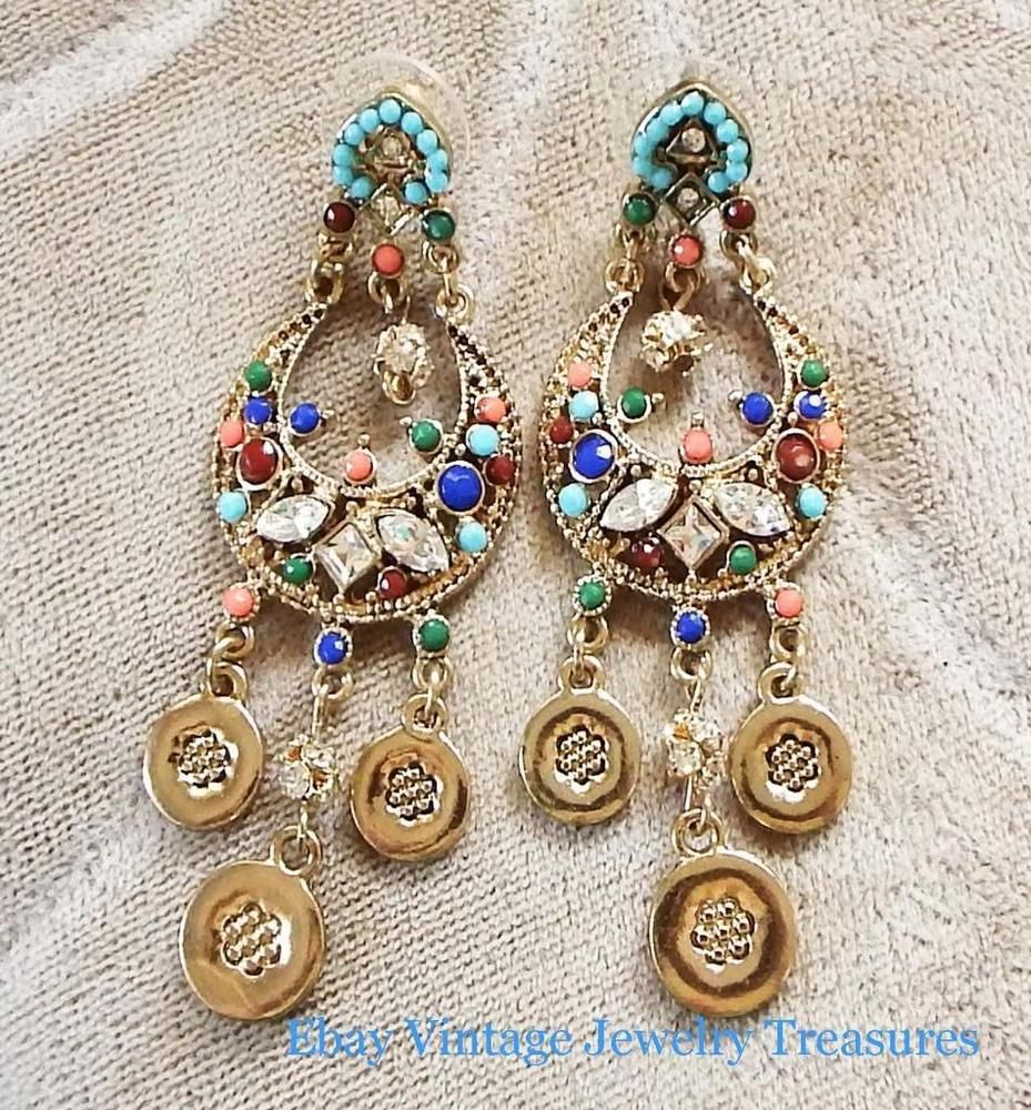 R.J. GRAZIANO Faux Gemstone Chandelier Gold Tone Pierced Earrings Estate #Graziano #chandelier