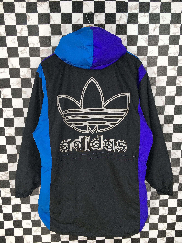 Vintage 90s Adidas Multicolour Jacket Large Adidas Trefoil Run Dmc Jacket Sportswear Adidas Colorblock Hoodie Bomb Vintage Jacket Vintage Adidas Adidas Trefoil [ 3000 x 2250 Pixel ]