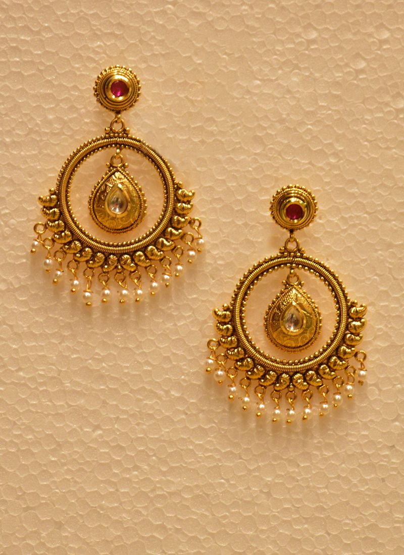 Wedding Wear Bali Style Golden Jhumka With Pearls | Accessories ...
