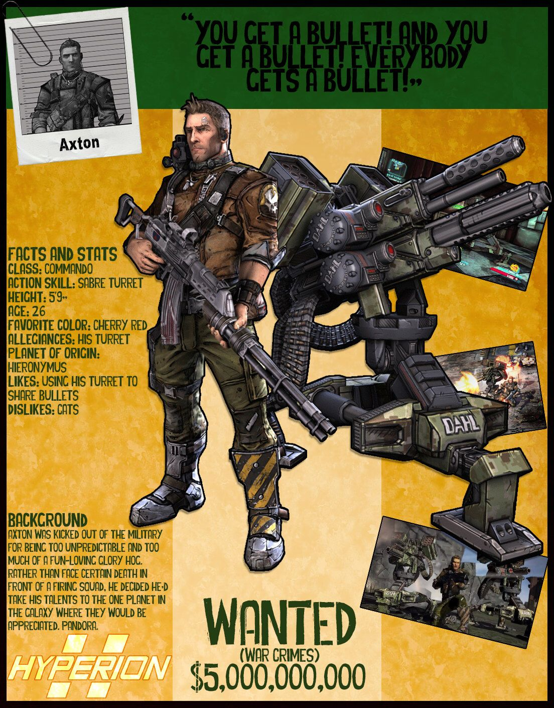 Borderlands 2 Wanted Posters - Axton by NerdscapeDesigns on Etsy https://www.etsy.com/listing/277811980/borderlands-2-wanted-posters-axton