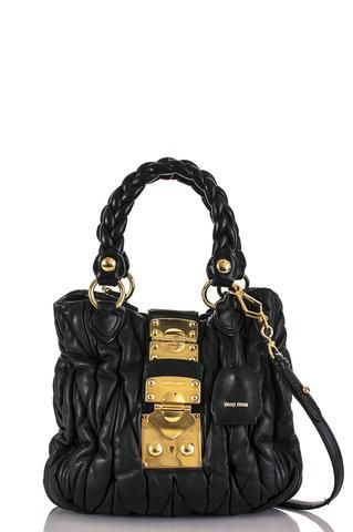 Pre-owned Miu Miu Matelasse pleated bag   OWN THE COUTURE   Canada s luxury  designer 0f2881e6a4