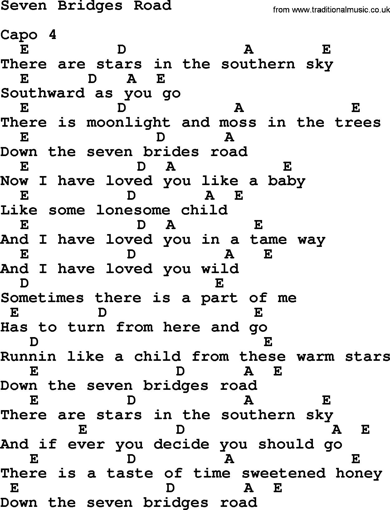 Dolly parton song seven bridges road lyrics and chords guitar dolly parton song seven bridges road lyrics and chords hexwebz Images