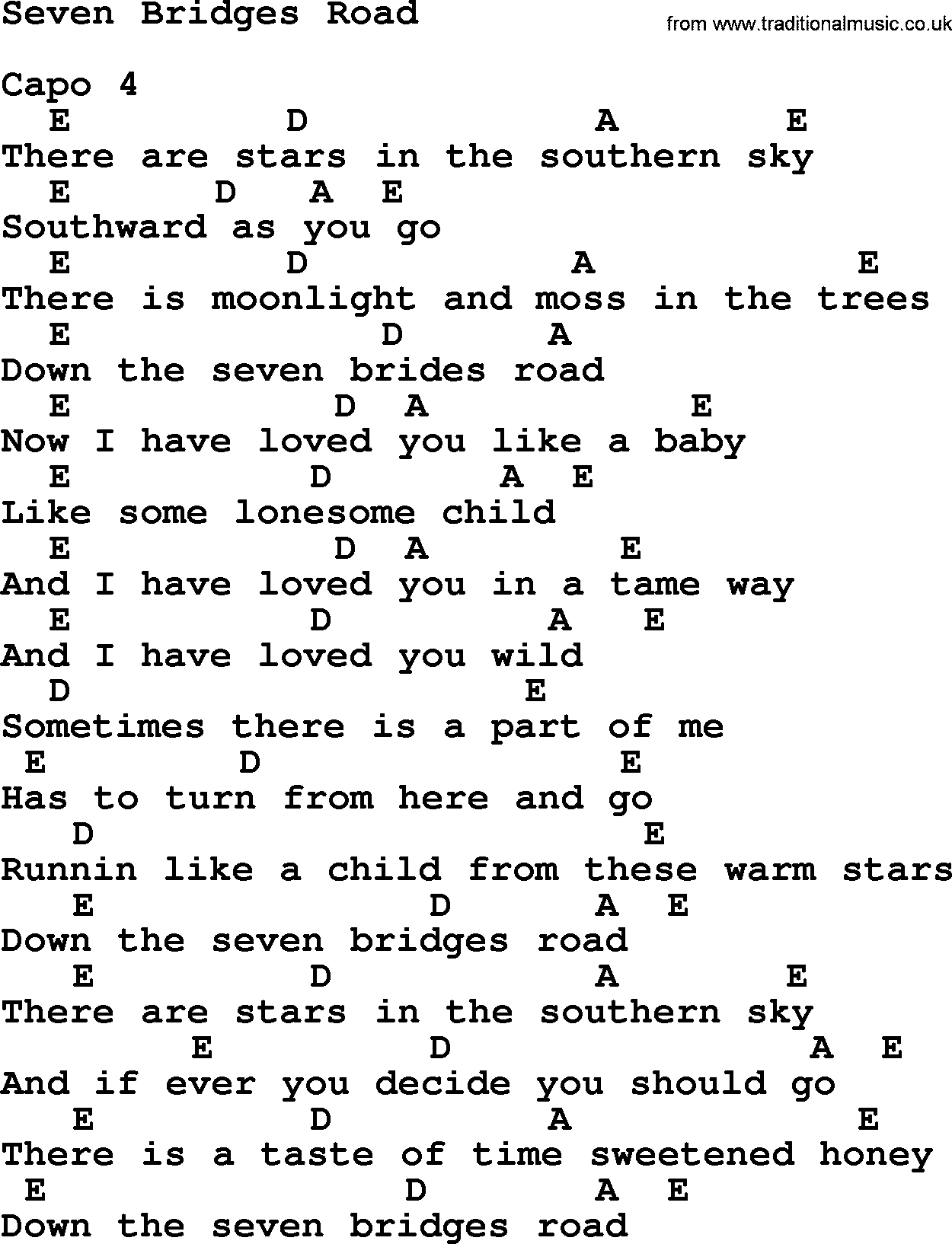 Dolly Parton Song Seven Bridges Road Lyrics And Chords I Sort Of