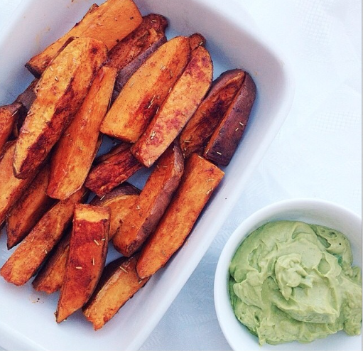 Sweet Potatoes Wedges and Avocado Cream!