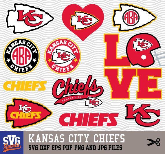 Kansas City Chiefs Svg Logos Monogram Silhouette Cricut Cameo Screen Printing Sp 19 Kansas City Chiefs Craft Kansas City Chiefs Logo Kansas City Chiefs