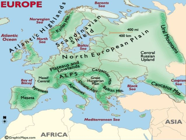 Map Of Europe Physical Features Image result for europe physical features on political map
