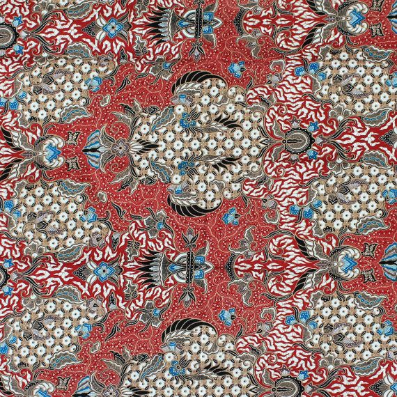 Vintage Red And Blue Thai Florals Print , Traditional Thai