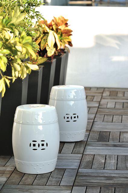 Outdoor white ceramic garden drum stool design & Outdoor white ceramic garden drum stool design | - Outdoor Design ... islam-shia.org