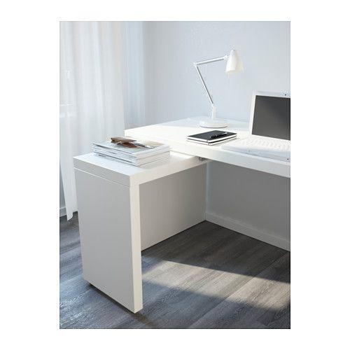 Malm escritorio con tablero extra ble blanco ikea - Tablero escritorio ...