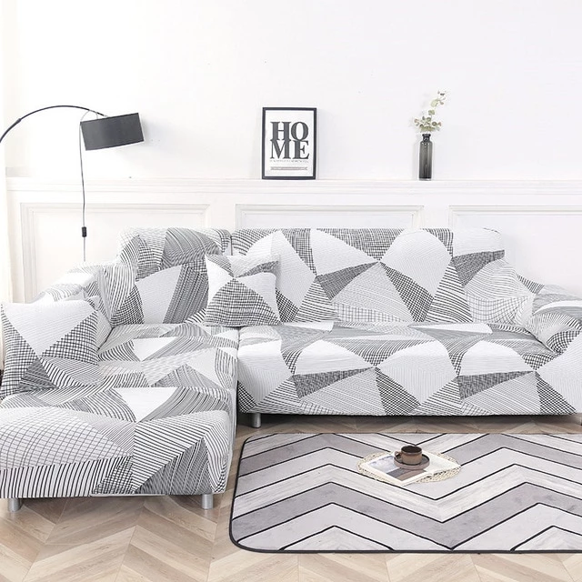 Grey White Triangle Sofa Cover Sofa Covers Couch Covers Corner Sectional Sofa