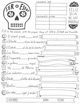 picture about Spanish Printable referred to as Dia de los muertos Ser and Estar worksheet ~no prep