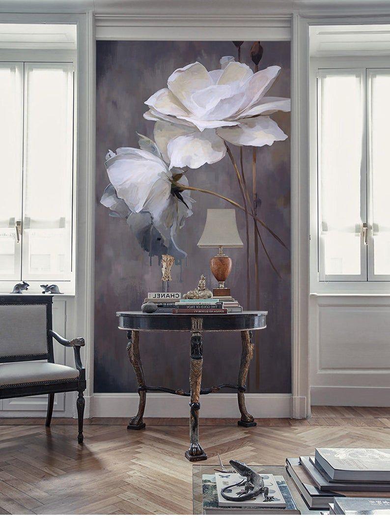 Tree Design Wallpaper Living Room: Simple Black And White Color Wallpaper Wall Mural, Lotus