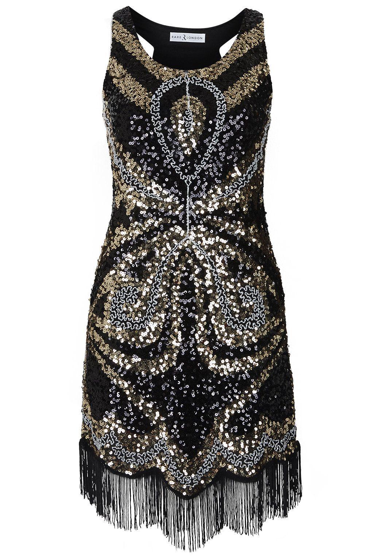 **Sequin Fringe Flapper Dress by Rare