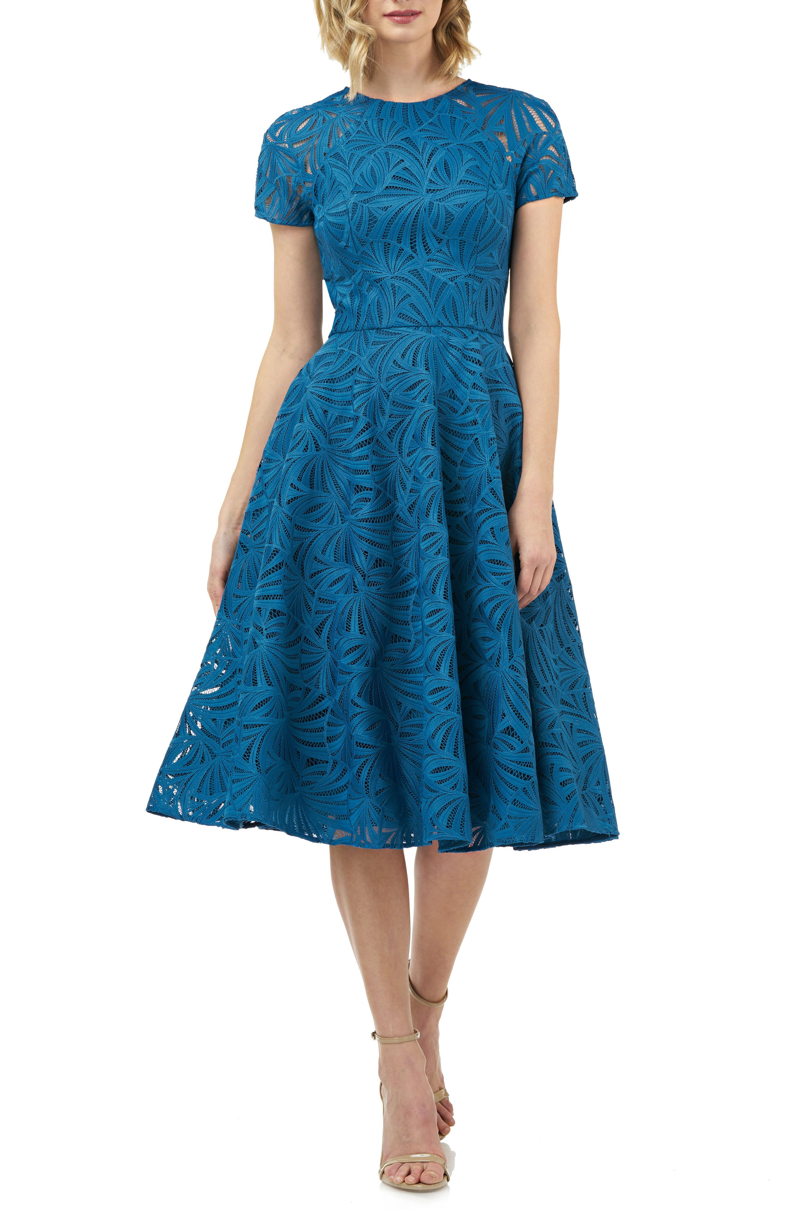 Womens Ladies Tea Rockabilly Vintage Skater Lace Long Sleeve Teal Guest Dress