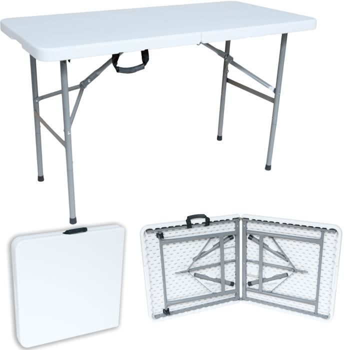 Table en Plastique Robuste, Table Pliante Transportable, 122 ...