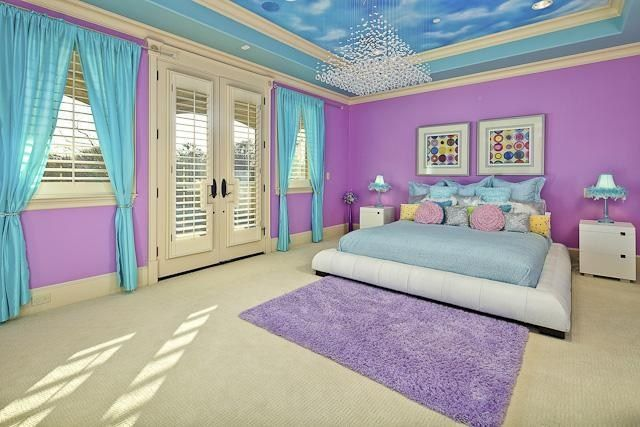 Beautiful Big Bright Colored Room With Painted Cloud Ceiling Great Light From 2 Big Windows And French Doors Bedroom Themes Girls Bedroom Paint Girl Room