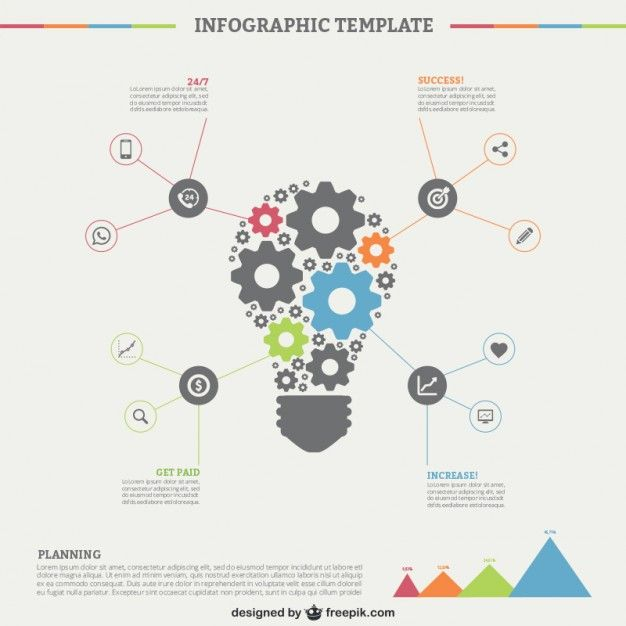Infographic Template With Light Bulb Free Vector  Free Vectors