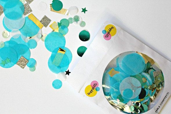 Blue Table Confetti Turquoise Wedding Ter Beach Decor