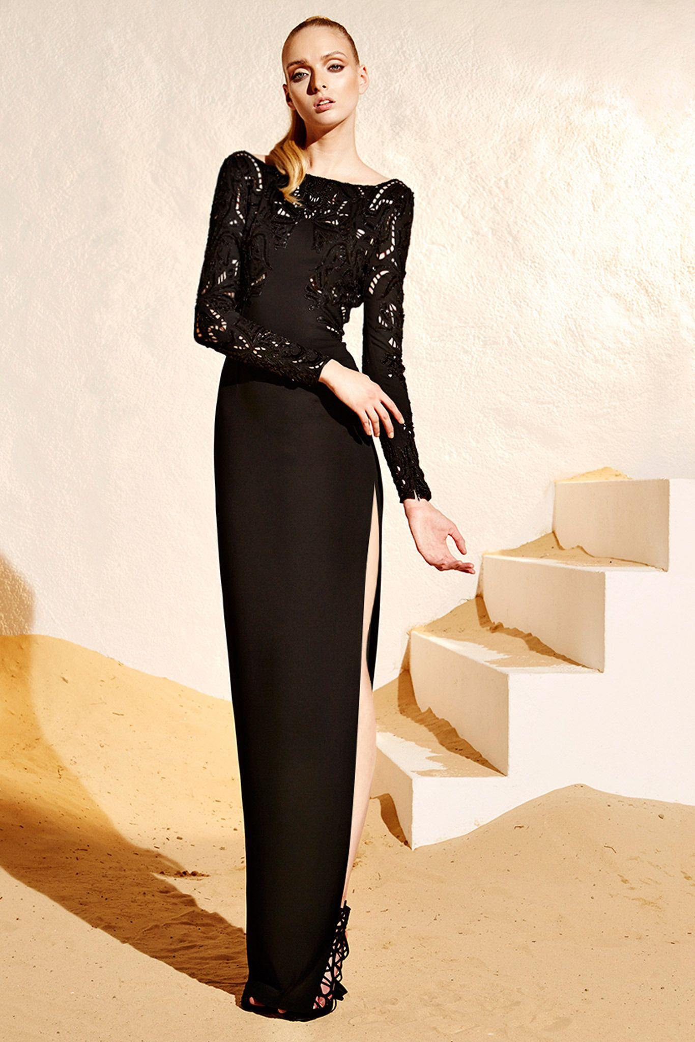 Zuhair murad resort black embroidered long sleeve maxi
