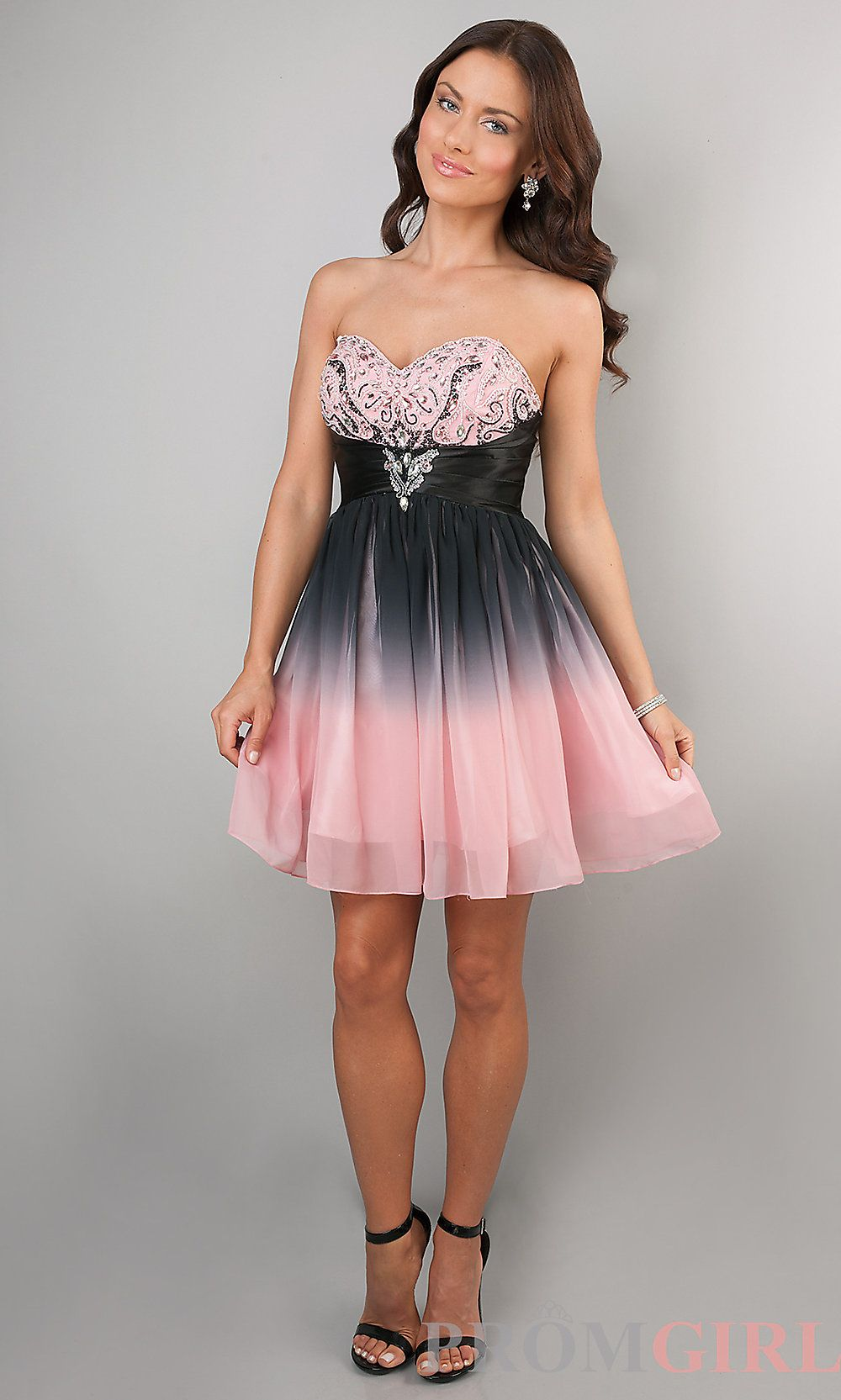 Strapless Junior Prom Dress, Short Ombre Party Dresses- PromGirl ...
