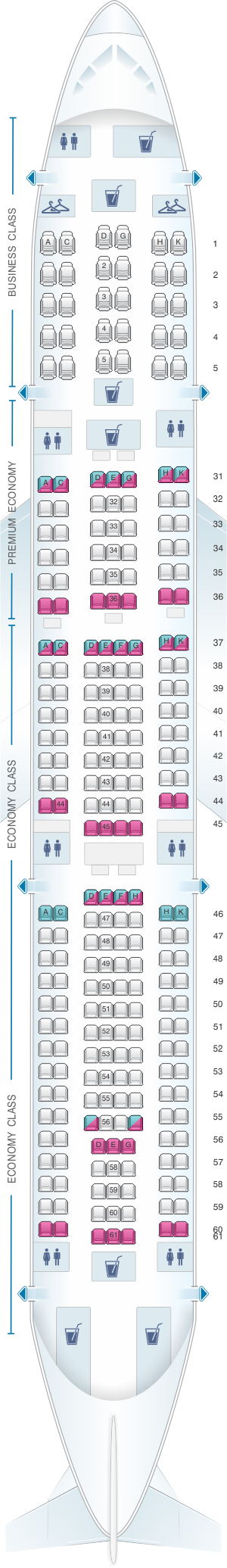 Seat Map China Southern Airlines Airbus A33B Air transat